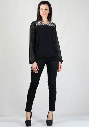Black chiffon top with lace and printed inserts on neckRUMENA