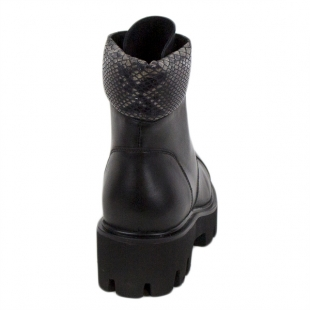 Women's black leather boots with snake print collar 20421