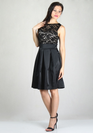 Women's dress with black lace top with gold satin lining and black satin skirt RUMENA