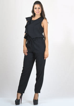 Black Pinafore with Pockets and Stripe Type Belt RUMENA