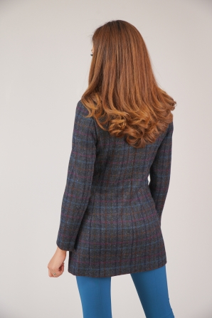 Women's coat casual model with a pattern of fine plaid 42115-993