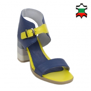 Women's sandals in blue and yellow 19259
