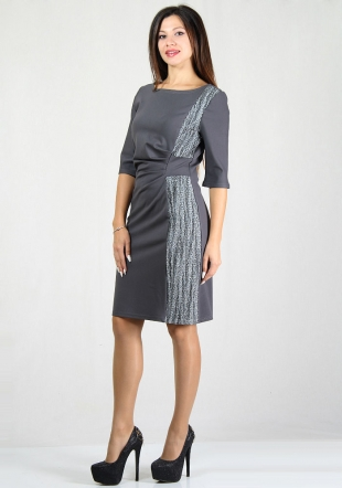 Grey dress with lace detail RUMENA