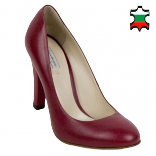 Women's red leather high heels shoes 32846