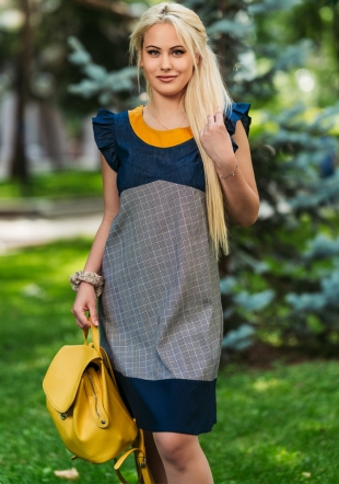 Multicolored casual tunic dress with curl on the sleeves Avangard
