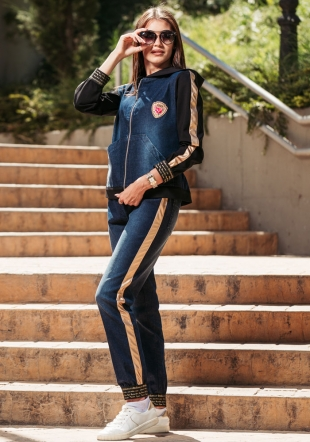 Women set of denim jacket and trousers with stripes Avangard