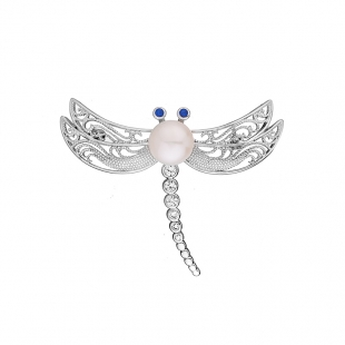 Silver dragonfly brooch with zicons and white freshwater pearl Swan