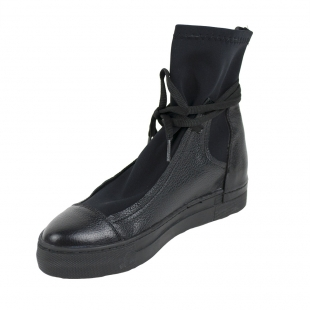 Women's black leather boots with black neoprene 20593