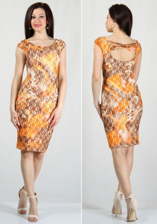 Yellow-brown flowers lace dress RUMENA