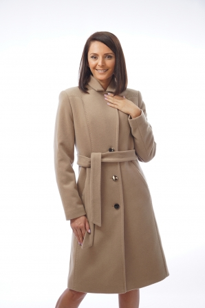 Elegant women's jacket with a decorative seam in camel color Radeks