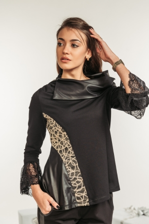 Black asymmetrical blouse with lace Avangard