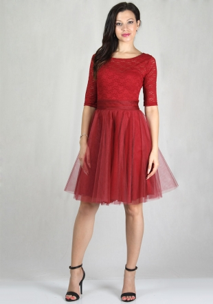 Women's occasion dress made of bordeaux lace and tulle RUMENA