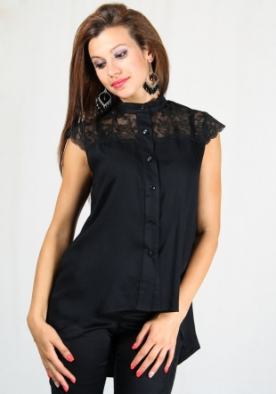 Black coton shirt with lace RUMENA