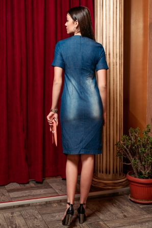 Denim dress with buttons and asymmetrical front Avangard