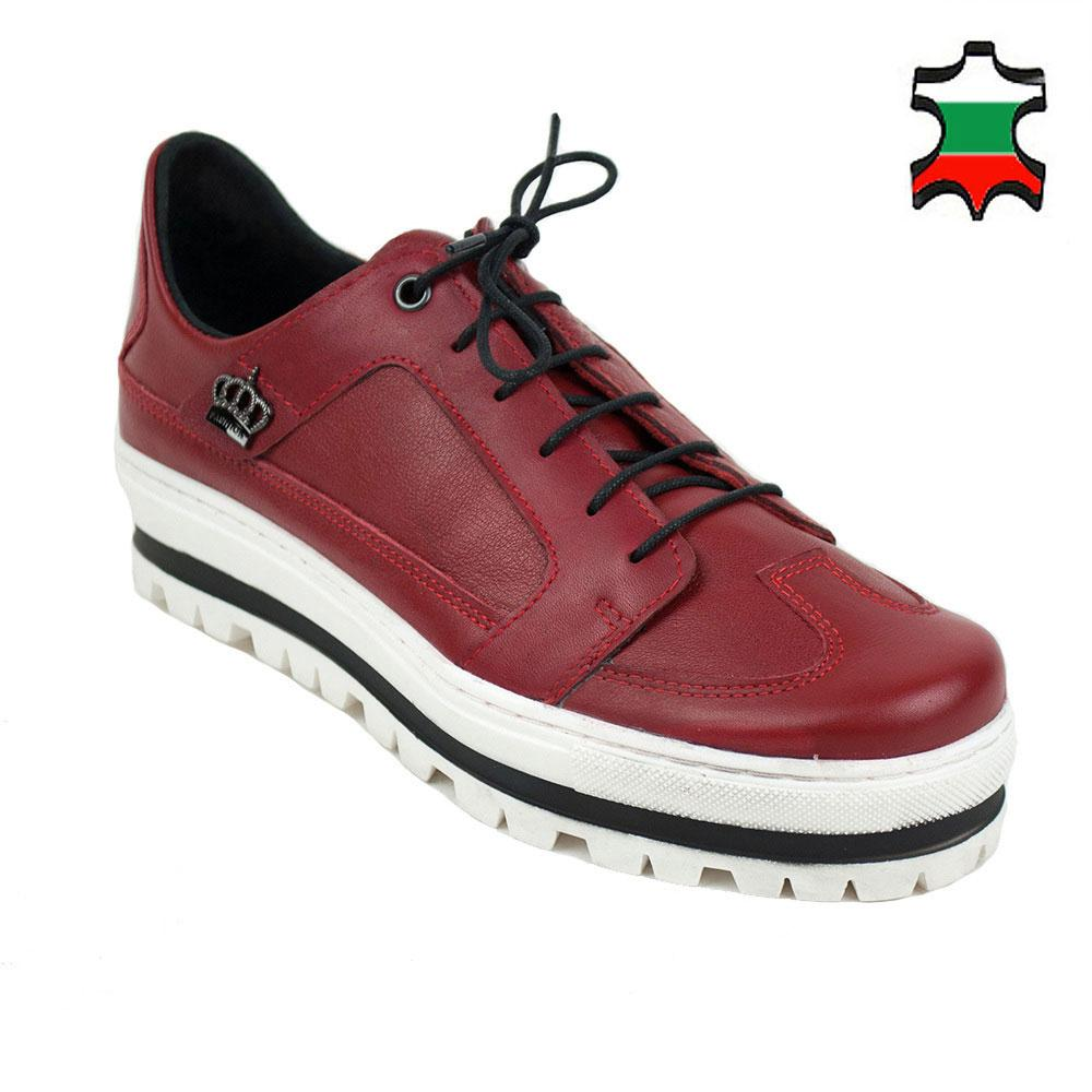 Women's red leather shoes with white