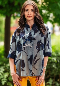 Shirt tunic of blue flowers with buttons Avangard