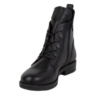 Women's black leather boots with decorative buttons 20416