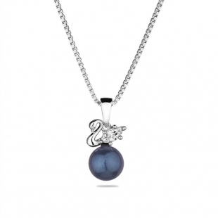 Silver necklace with natural black pearl and zircon CAA088NB Swan