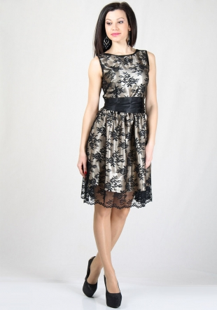 Black lace dress with gold satin lining RUMENA