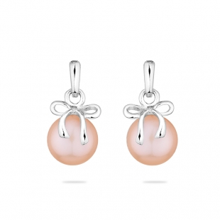 Silver earrings with natural pink pearl and ribbon LA875EP Swan