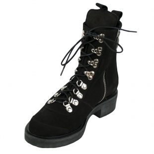Women's black nubuck leather boots 32692