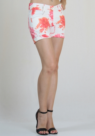 Short pink print jeans with cuffs RUMENA
