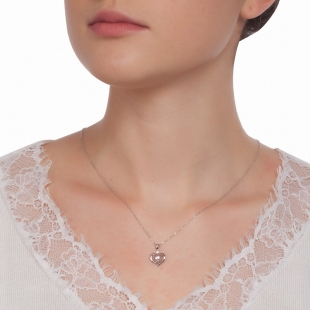 Silver heart pendant necklace with natural pink pearl and zircons 1LA019NP Swan