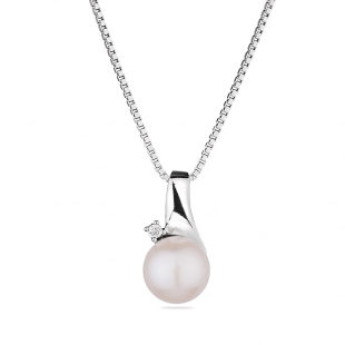Silver necklace with natural white pearl and zircon CAA070N Swan