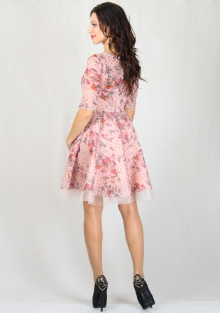 Women's dress in flowers print with tulle underskirt RUMENA