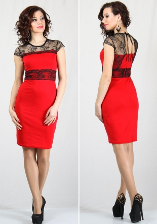 Women's elegant dress with lace neck and lace back RUMENA