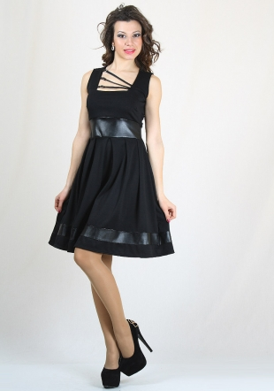 Black dress with leather elements RUMENA