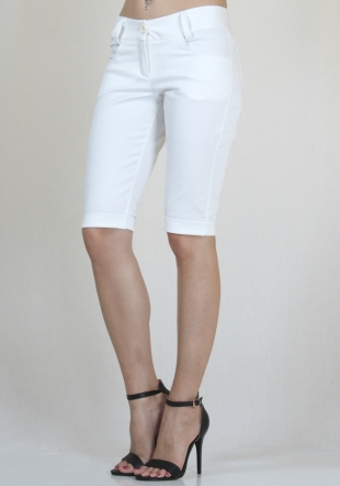 White cropped jeans with cuffs RUMENA