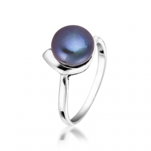Silver ring with white freshwater pearl SR0002B Swan