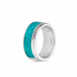 Silver turquoise ring and zircons PJ314R Swan