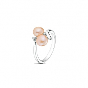 Silver ring with pearls and zircons FN693R Swan