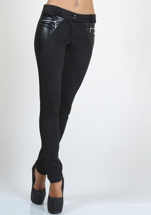 Black elastic trousers with leather inserts and zippers RUMENA