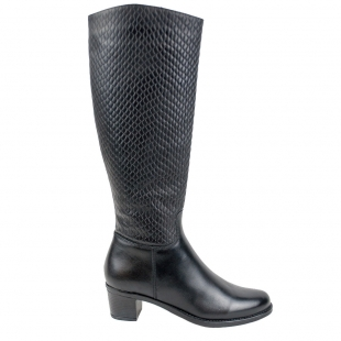 Women's black leather high boots with croco effect