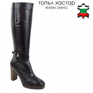 Women's black leather boots with back zipper and decorative strap with buckle 32807