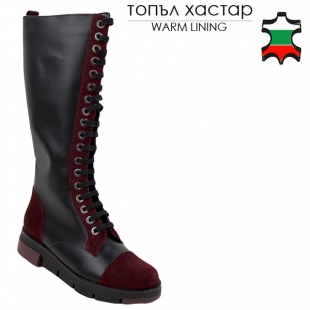 Women's black nappa leather boots with burgundy suede leather 20487