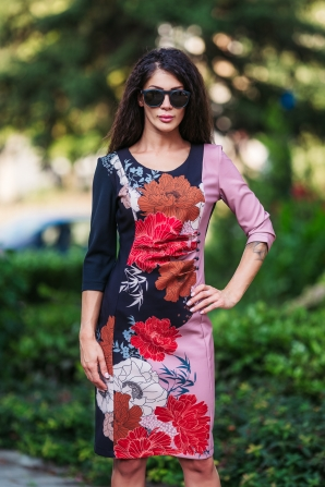Dress with a round neck flowers Avangard