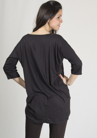 Asymmetric brwon top with decorative gems RUMENA