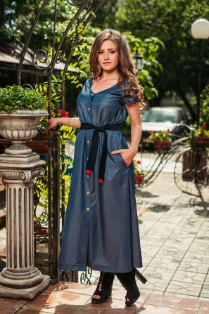 Long ladies dress with buttons blue Avangard