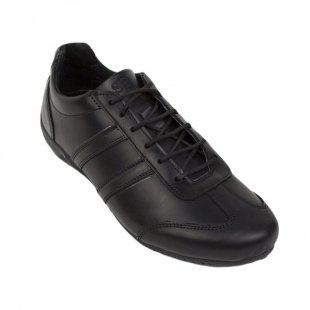 Black low men's sneakers made of genuine leather 104NERO