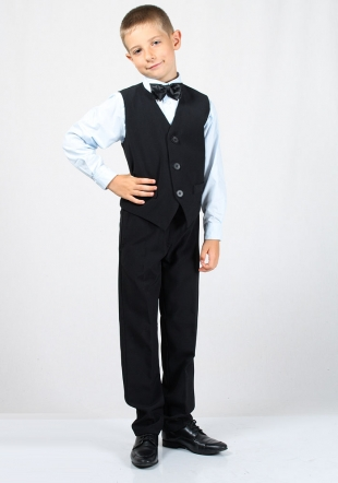 Boys black vest and trousers with shirt in colour by choice RUMENA