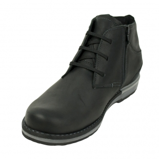 Men's black leather boots with elastic on back 32542