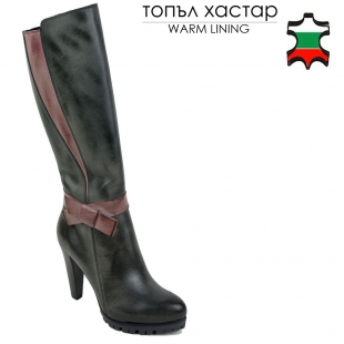 Women's black and bordeaux leather high boots with ribbon