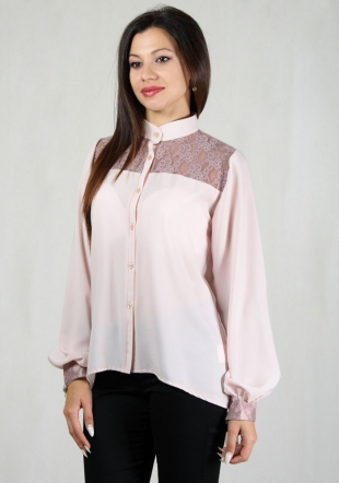 Women's silk longsleeve shirt with lace RUMENA