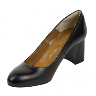 Women's black leather elegant shoes with duck heels