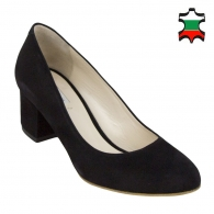 Women's black suede leather shoes with low heels 32839