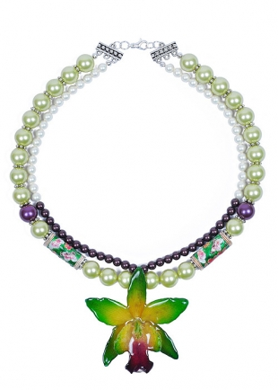 Green Oriental Queen Necklace With Real Orchid Dannyra Jewels